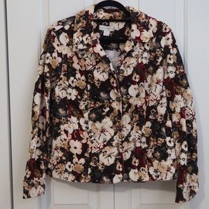 Christopher & Banks Corduroy Jacket Floral Blazer